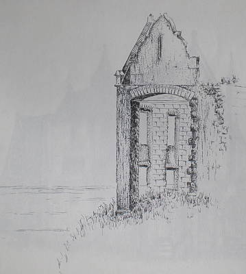 Scotland Drawing - Ruin by Sheep McTavish