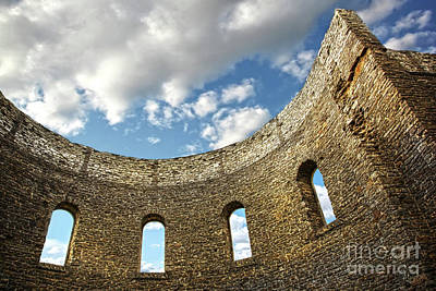 Ruin Wall With Windows Of An Old Church  Art Print