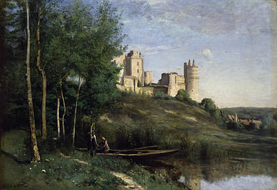 Ruins Of The Chateau De Pierrefonds Print by Jean Baptiste Camille Corot