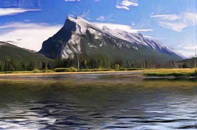 Banff Artist Painting - Rundle Mountain II by Wayne Bonney