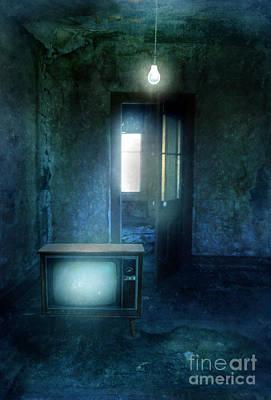Rundown Room With Old Tv And Bare Lightbulb Art Print