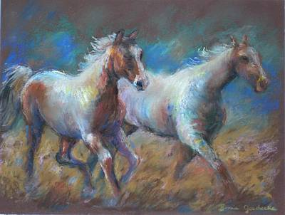 Horse Pastels Painting - Running Free by Bonnie Goedecke