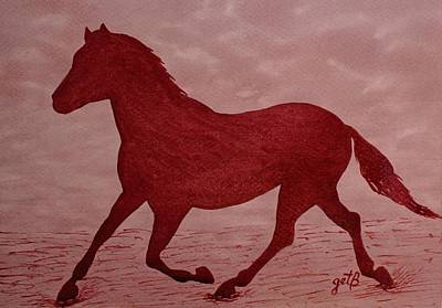 Travel Rights Managed Images - Running Horse Silhouette red wine painting Royalty-Free Image by Georgeta  Blanaru