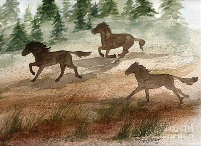 Painting - Running Horses  by Nancy Patterson