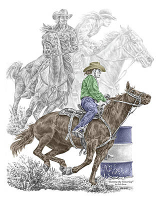 Drawing - Running The Cloverleaf - Barrel Racing Print Color Tinted by Kelli Swan