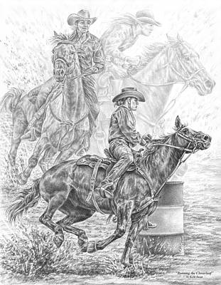 Equine Drawing Drawing - Running The Cloverleaf - Rodeo Barrel Race Print by Kelli Swan