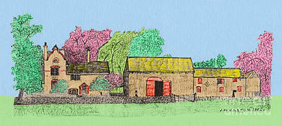 Drawing - Rural Farmhouse by Donna L Munro