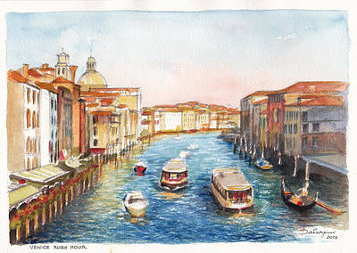 Rush Hour On The Grand Canal Venice Art Print by Dai Wynn