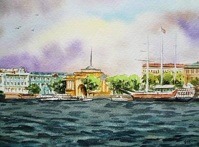 Russia Painting - Russia Saint Petersburg Neva River by Irina Sztukowski