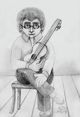 Painting - Russian Guitarist Black And White Art Eyeglasses Long Curly Hair Tie Chin Shirt Trousers Shoes Chair by Rachel Hershkovitz