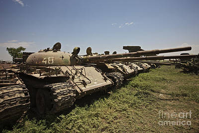 Russian T-62 Main Battle Tanks Rest Print by Terry Moore