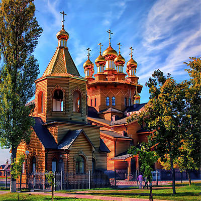 Russian Wooden Church Print by Gennadiy Golovskoy