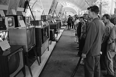 Russians Looking At Television Sets Art Print