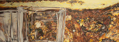Drawing - Rust  Pebbles And Glass by Raquel Stallworth