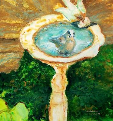 Rustic Birdbath Art Print by Jan Moore