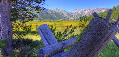 Rustic Moss Covered Pioneer Era Fence In Olympic Valley California Art Print