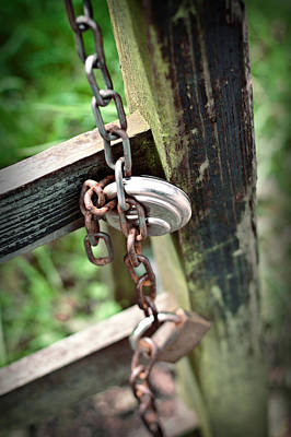 Photograph - Rustic Old Wooden Gate Secured With A Rusty Old Chain by Ethiriel  Photography