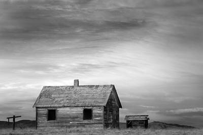 Little House On The Prairie Photograph - Rustic Rural House In The Country Bw by James BO  Insogna
