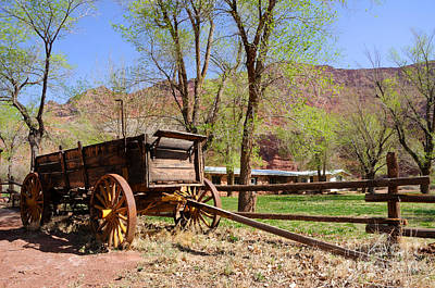 Rustic Wagon At Historic Lonely Dell Ranch - Arizona Art Print by Gary Whitton