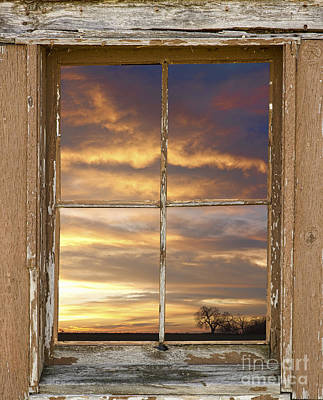 Frame Photograph - Rustic Window Colorful Sky View by James BO  Insogna