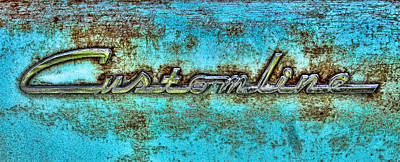 Ford Customline Photograph - Rusting Ford Chrome Insignia by Tony Grider