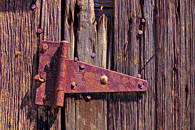 Rusty Barn Door Hinge  Art Print by Garry Gay
