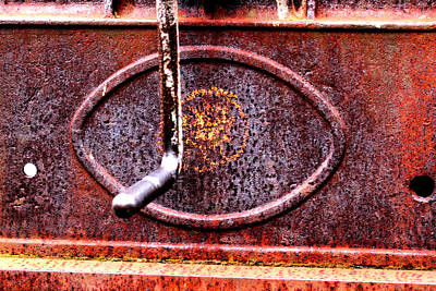 Photograph - Rusty Handle And Manufacturer Emblem by Marie Jamieson