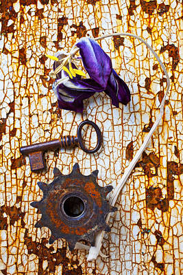 Photograph - Rusty Key And Gear by Garry Gay