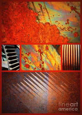 Colorful Abstract Digital Art - Rusty Metal Canvas by Carol Groenen