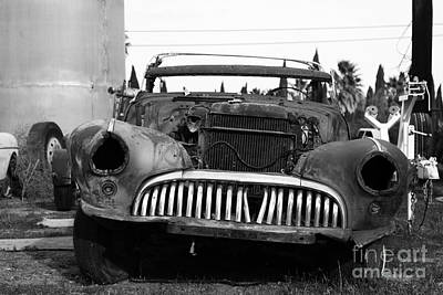 Rusty Old American Car . 7d10343 . Black And White Art Print by Wingsdomain Art and Photography