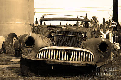 Rusty Old American Car . 7d10343 . Sepia Art Print by Wingsdomain Art and Photography