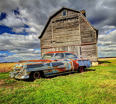 Art Print featuring the photograph Rusty Old Cadillac by Peter Ciro