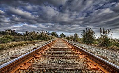 Rusty Rail Line And Fog Clouds Art Print by Lachlan Kay