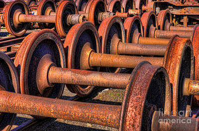 Photograph - Rusty Railroad Car Wheelsets by Clarence Holmes