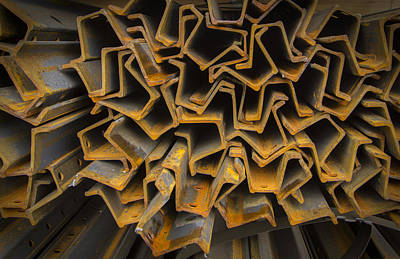Metal Fence Photograph - Rusty Fenceposts by Jean Noren