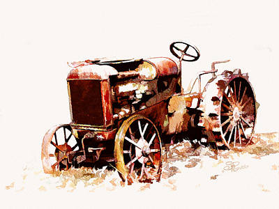 Rusty Tractor In The Snow Art Print