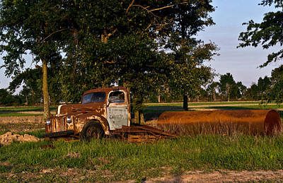 Rusty Truck And Tank Art Print by Douglas Barnett