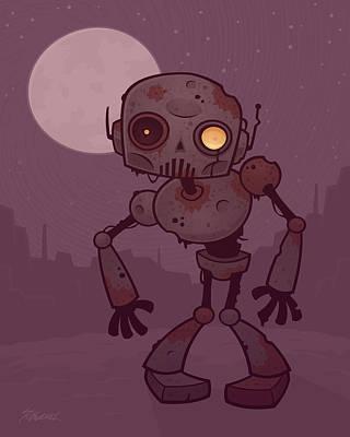 Robots Drawing - Rusty Zombie Robot by John Schwegel