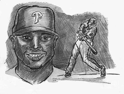 Drawing - Ryan Howard- The Big Piece Dark by Chris  DelVecchio
