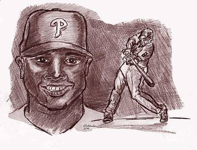 Drawing - Ryan Howard The Big Piece Red by Chris  DelVecchio