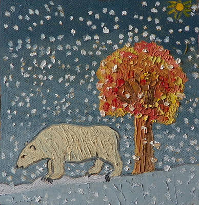 Painting - S Is For Snow Detail From Childhood Quilt Painting by Dawn Senior-Trask