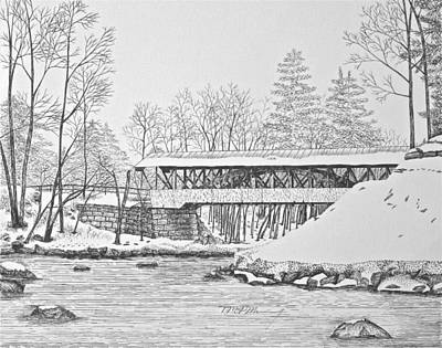 Snowscape Drawing - Saco River Bridge by Tim Murray