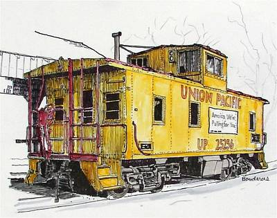 Art Print featuring the painting Sacramento Caboose by Terry Banderas