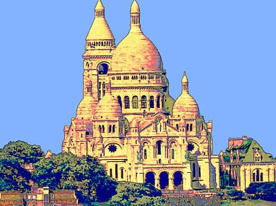 Sacre Coeur Digital Art - Sacre Coeur - Paris by Rod Saavedra-Ferrere