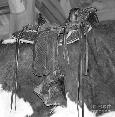 Photograph - Saddle Over Cowhide In Black And White by Pamela Walrath