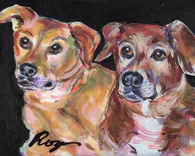 Chocolate Labrador Retriever Painting - Sadie And Souka by Judy  Rogan