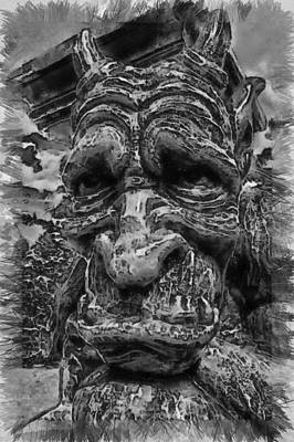 Photograph - Sadness In Stone - Sketch by Nicholas Evans