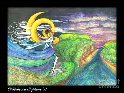 Sage Moon Art Print by Rebecca Stephens