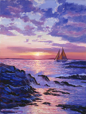 Sailboat Ocean Painting - Sail At Dawn by David Lloyd Glover