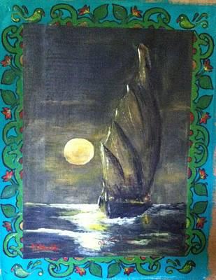 Sail At Night Art Print by M Bhatt